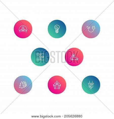 Collection Of Afforestation, Air, Eco And Other Elements.  Set Of 8 Ecology Outline Icons Set.