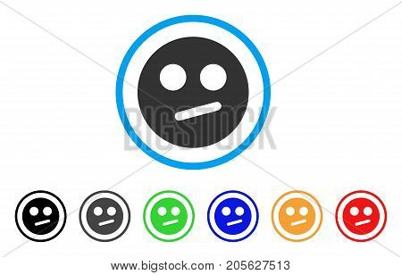 Indifferent Smiley icon. Vector illustration style is a flat iconic indifferent smiley symbol with black, gray, green, blue, red, orange color variants. Designed for web and software interfaces.