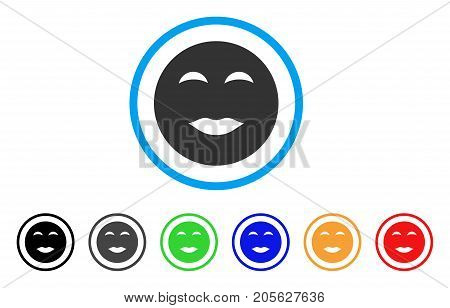 Lady Pleasure Smiley icon. Vector illustration style is a flat iconic lady pleasure smiley symbol with black, grey, green, blue, red, orange color versions. Designed for web and software interfaces.