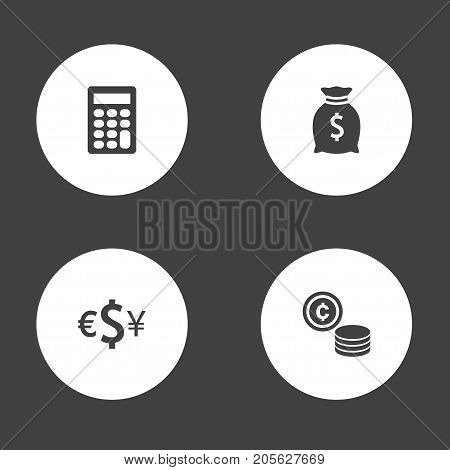 Collection Of Currency, Sack, Calculate And Other Elements.  Set Of 4 Budget Icons Set.
