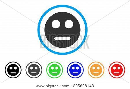 Neutral Smiley icon. Vector illustration style is a flat iconic neutral smiley symbol with black, grey, green, blue, red, orange color additional versions. Designed for web and software interfaces.