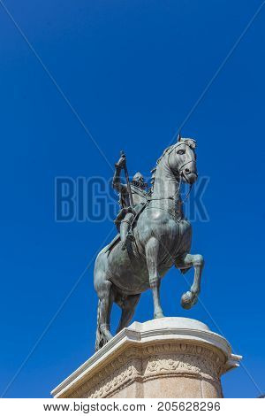 Monument To Philip Iii Of Spain At The Plaza Mayor Of Madrid