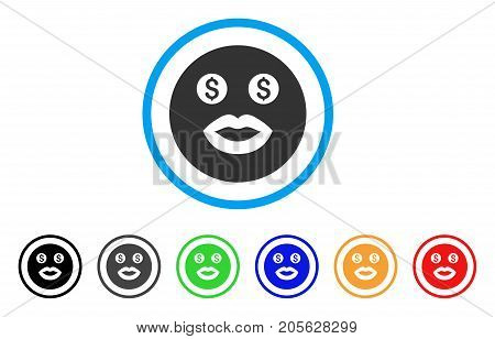 Prostitute Smiley icon. Vector illustration style is a flat iconic prostitute smiley symbol with black, gray, green, blue, red, orange color additional versions.