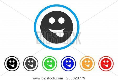 Tongue Smiley icon. Vector illustration style is a flat iconic tongue smiley symbol with black, grey, green, blue, red, orange color versions. Designed for web and software interfaces.