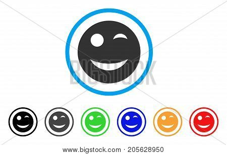 Wink Smiley icon. Vector illustration style is a flat iconic wink smiley symbol with black, grey, green, blue, red, orange color additional versions. Designed for web and software interfaces.