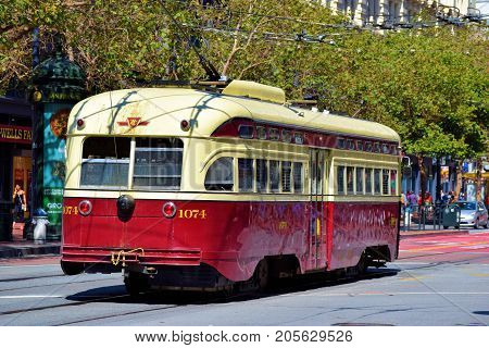 September 19, 2017 in San Francisco, CA:  Railway Street Car which is part of the public transit system taken in San Francisco, CA where people can ride on this historic Street Car between the Castro and Fisherman's Warf on Market Street