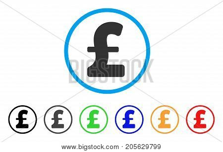 Pound Sterling icon. Vector illustration style is a flat iconic pound sterling symbol with black, grey, green, blue, red, orange color additional versions. Designed for web and software interfaces.