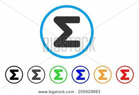 Sum icon. Vector illustration style is a flat iconic sum symbol with black, gray, green, blue, red, orange color variants. Designed for web and software interfaces.