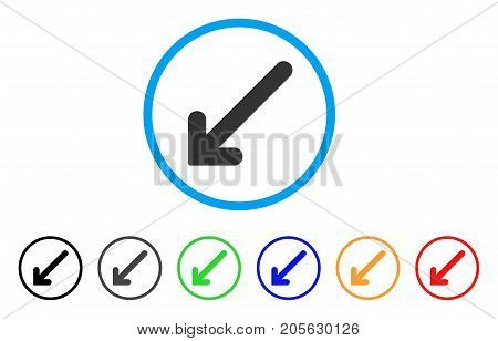 Arrow Down Left icon. Vector illustration style is a flat iconic arrow down left symbol with black, gray, green, blue, red, orange color variants. Designed for web and software interfaces.