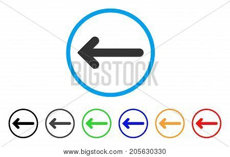 Arrow Left icon. Vector illustration style is a flat iconic arrow left symbol with black, gray, green, blue, red, orange color versions. Designed for web and software interfaces.