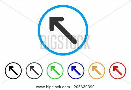 Arrow Up Left icon. Vector illustration style is a flat iconic arrow up left symbol with black, gray, green, blue, red, orange color versions. Designed for web and software interfaces.