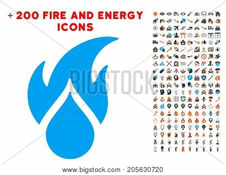 Fired Water Drop pictograph with bonus energy images. Vector illustration style is flat iconic symbols for web design, application ui.