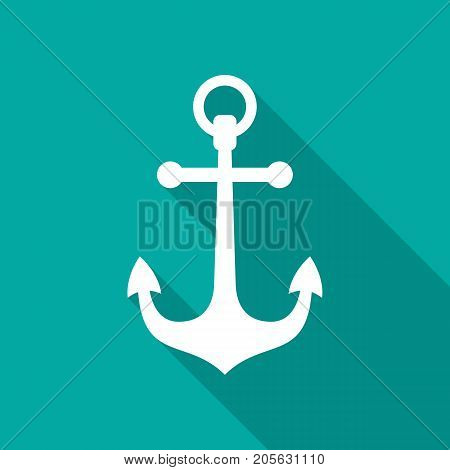 Anchor icon with long shadow. Flat design style. Anchor simple silhouette. Modern minimalist icon in stylish colors. Web site page and mobile app design vector element.
