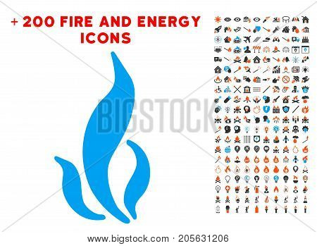 Flame icon with bonus energy graphic icons. Vector illustration style is flat iconic symbols for web design, app ui.