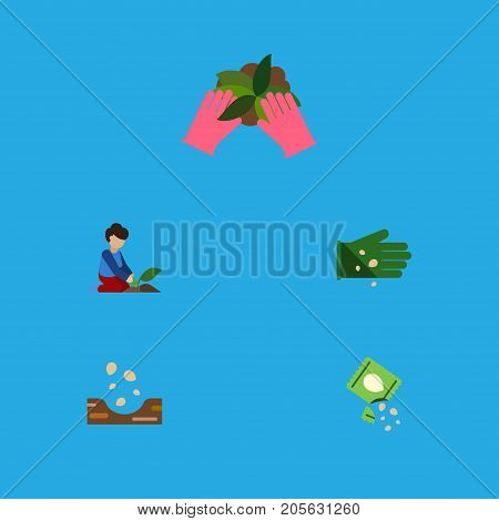 Flat Icon Sow Set Of Seed, Glove, Florist And Other Vector Objects