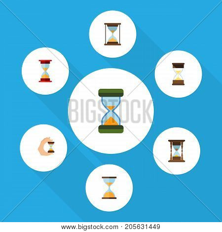 Flat Icon Timer Set Of Clock, Hourglass, Sand Timer Vector Objects