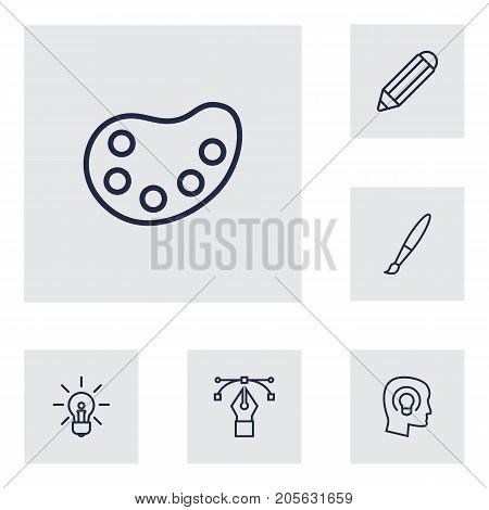 Collection Of Concept, Bezier Curve, Paintbrush And Other Elements.  Set Of 6 Creative Outline Icons Set.