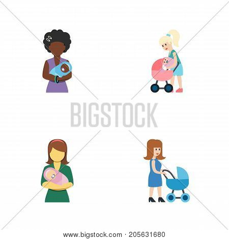 Flat Icon Parent Set Of Perambulator, Woman, Mother And Other Vector Objects
