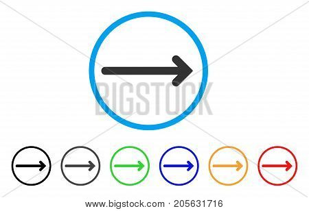 Arrow Right icon. Vector illustration style is a flat iconic arrow right symbol with black, grey, green, blue, red, orange color variants. Designed for web and software interfaces.