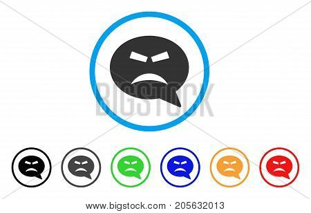 Furious Smiley Message icon. Vector illustration style is a flat iconic furious smiley message symbol with black, gray, green, blue, red, orange color variants.