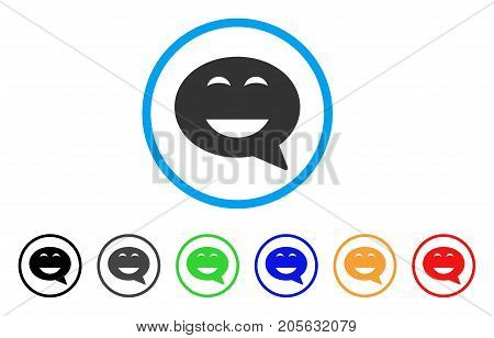 Glad Smiley Message icon. Vector illustration style is a flat iconic glad smiley message symbol with black, gray, green, blue, red, orange color versions. Designed for web and software interfaces.
