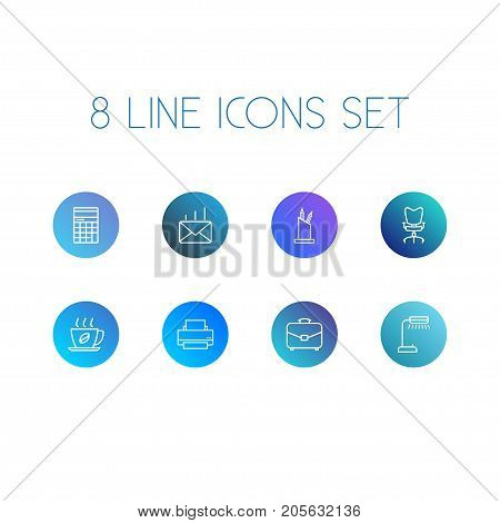 Collection Of Workplace, Portfolio, Printing Machine And Other Elements.  Set Of 8 Work Outline Icons Set.