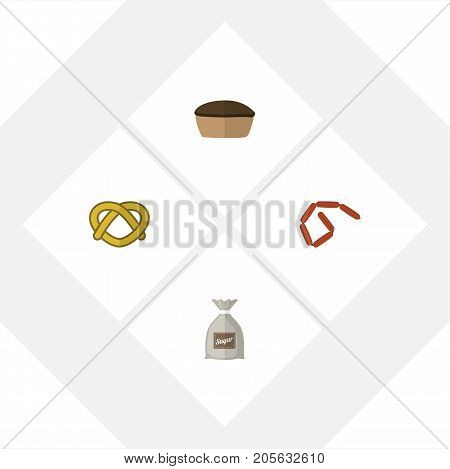 Flat Icon Meal Set Of Bratwurst, Sack, Tart And Other Vector Objects