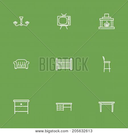 Collection Of Table, Chandelier, Nightstand Elements.  Set Of 9 Situation Outline Icons Set.
