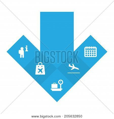 Collection Of Date, Weighing, Shopping Bag And Other Elements.  Set Of 5 Aircraft Icons Set.