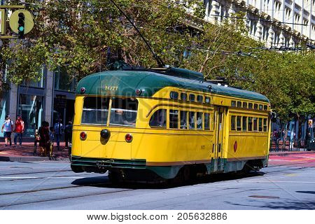 September 19, 2017 in San Francisco, CA:  Railway Street Car which is part of the city's transit system taken in San Francisco, CA where people can commute on this Historic Rail Street Car between the Castro and Fisherman's Warf on Market Street