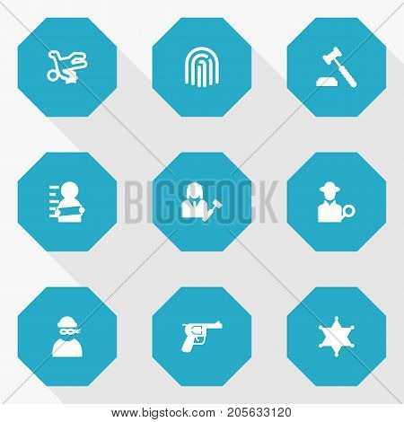 Collection Of Judge Gavel, Thief, Revolver And Other Elements.  Set Of 9 Crime Icons Set.