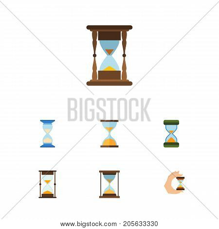 Flat Icon Hourglass Set Of Measurement, Waiting, Hourglass And Other Vector Objects