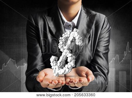 Cropped image of businessman in suit presenting multiple cubes in form of dollar sign in his hand. 3D rendering.