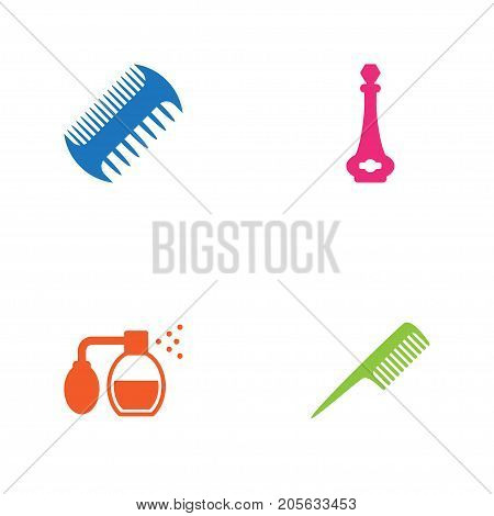 Collection Of Odor, Comb, Deodorant And Other Elements.  Set Of 4 Barbershop Icons Set.