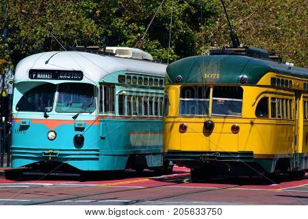 September 17, 2017 in San Francisco, CA:  Railway Street Cars used for public transit in San Francisco, CA where people can ride these refurbished historic street cars between the Castro District and Fisherman's Warf on Market Street