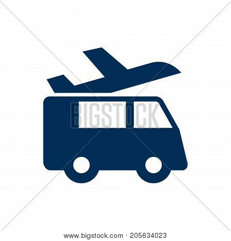 Isolated Airport Shuttle Icon Symbol On Clean Background