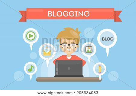 Blogging concept illustration. Idea of writing blog and making content for social media.