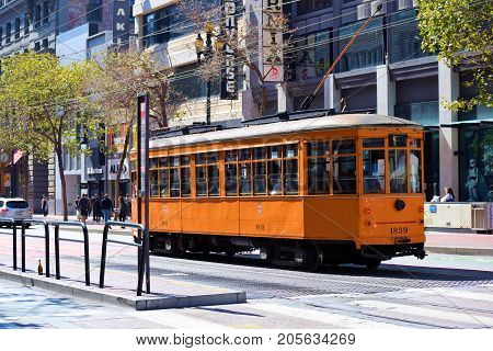 September 19, 2017 in San Francisco, CA:  Historic Railway Street Car used for public transit taken in San Francisco, CA where people can ride on these refurbished historic street cars on Market Street between the Castro District and Fisherman's Warf