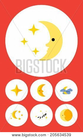Flat Icon Midnight Set Of Night, Midnight, Lunar And Other Vector Objects