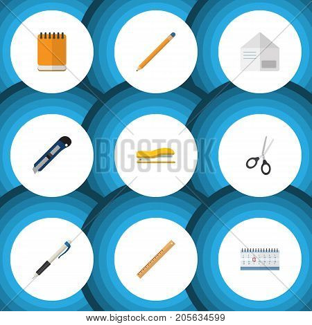 Flat Icon Tool Set Of Supplies, Pencil, Notepaper And Other Vector Objects