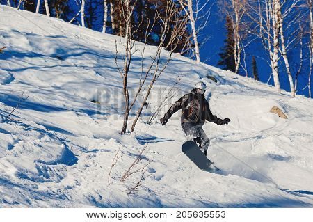 Snowboarder is jumping in the forest. Soft snow, freeride snowboarding