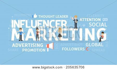 Influencer marketing concept. Idea of attention, advertising and media.