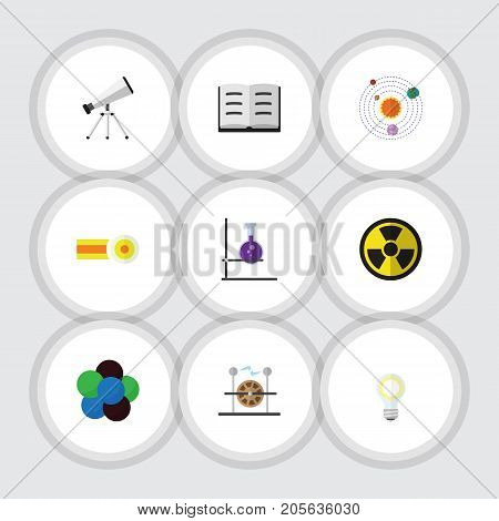 Flat Icon Knowledge Set Of Scope, Electrical Engine, Chemical And Other Vector Objects