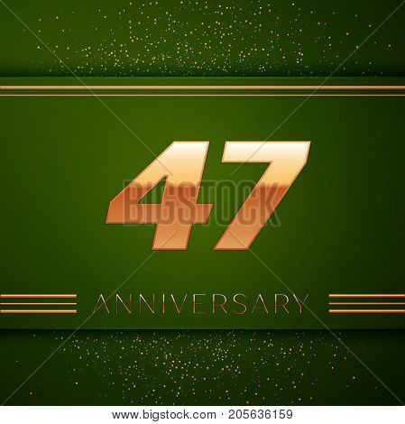 Realistic Forty seven Years Anniversary Celebration Logotype. Golden numbers and golden confetti on green background. Colorful Vector template elements for your birthday party