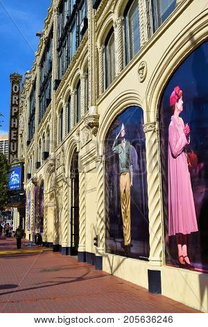 September 19, 2017 in San Francisco, CA:  Historic Orpheum Theatre which opened in 1926 taken in San Francisco, CA where people can watch a play including