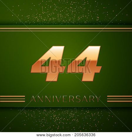 Realistic Forty four Years Anniversary Celebration Logotype. Golden numbers and golden confetti on green background. Colorful Vector template elements for your birthday party