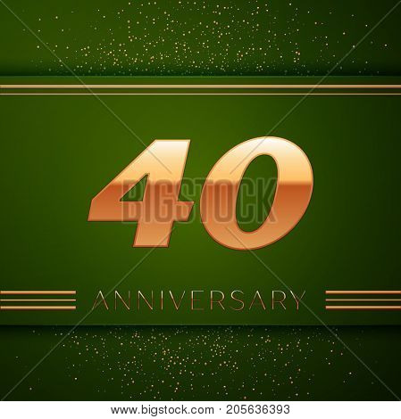 Realistic Forty Years Anniversary Celebration Logotype. Golden numbers and golden confetti on green background. Colorful Vector template elements for your birthday party