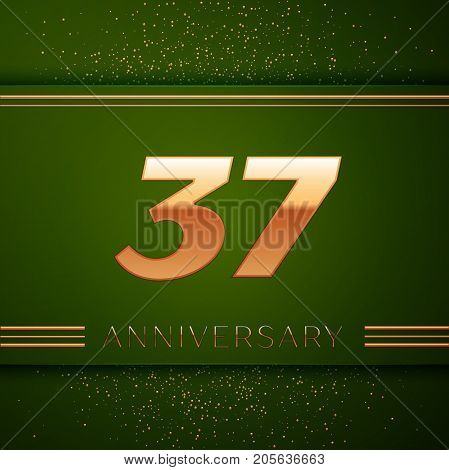 Realistic Thirty seven Years Anniversary Celebration Logotype. Golden numbers and golden confetti on green background. Colorful Vector template elements for your birthday party