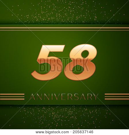 Realistic Fifty eight Years Anniversary Celebration Logotype. Golden numbers and golden confetti on green background. Colorful Vector template elements for your birthday party