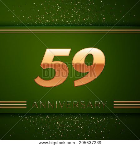 Realistic Fifty nine Years Anniversary Celebration Logotype. Golden numbers and golden confetti on green background. Colorful Vector template elements for your birthday party